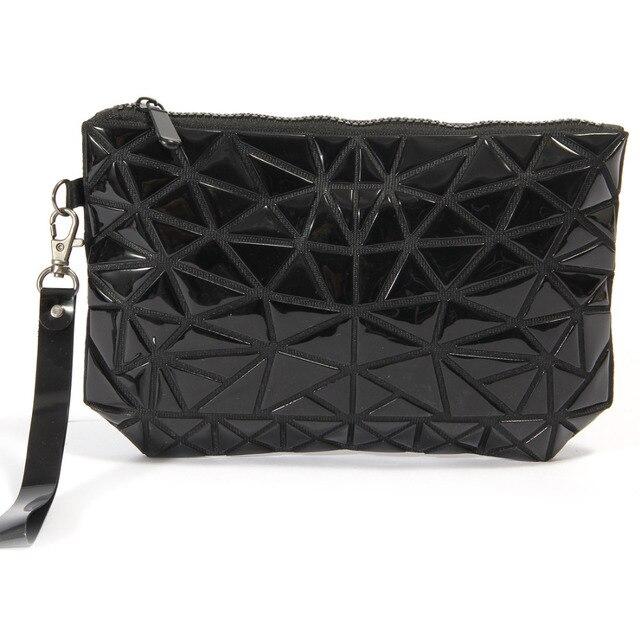 Fashion Portable Makeup Bag Folding Package PU Leather Makeup Bags Women  Geometric Zipper Cosmetic Bag Mini 21b9768a1562a