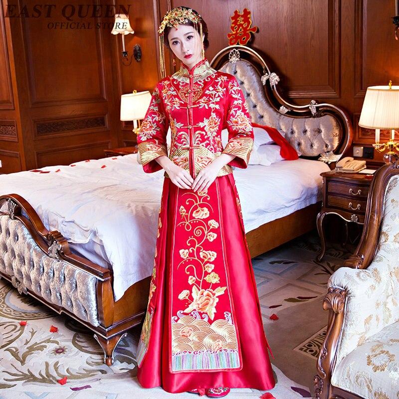 Cheongsam chinese style red font b women b font long sleeve cheongsam chinese font b dress