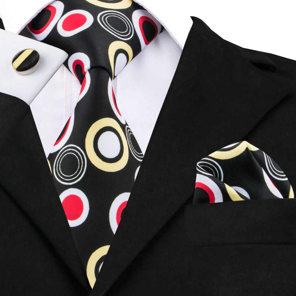 C-1287 hommes cravate mouchoir boutons de manchette 2017 nouvelle marque Hi-Tie imprimé cravate ensemble noir Dot soie cravates pour hommes costume et Blazers