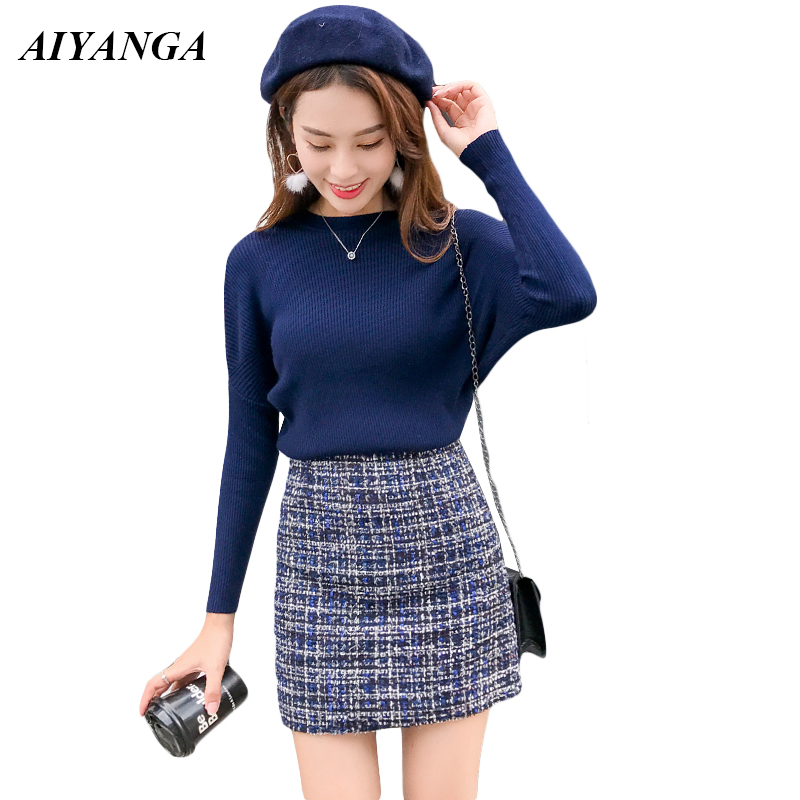 2019 New Fashion Autumn Sexy O-Neck Full Sleeve Sweaters Pullovers + High Waist Woolen Mini Skirt Two Piece Set Women Tracksuit