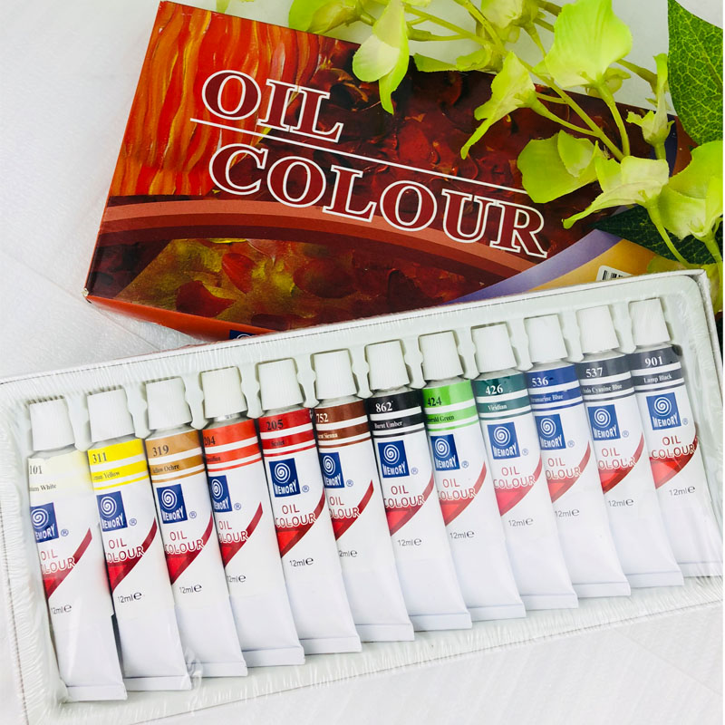 цена на 12 Colors 12ML Tube Oil Paint Sets Professional Oil Colors Paint for Children Drawing Tools Acrylic Painting Color Art Supplies
