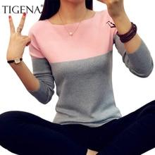 Женский вязаный свитер с длинным рукавом TIGENA, полосатый джемпер черного и розового цвета, пуловер для женщин на осень-зиму