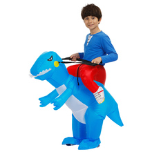 High Quality Boys Kids Inflatable Bule Dinosaur Costume Halloween Party Fancy Dress Purim Carnival Cosplay Baby Dino Jumpsuit