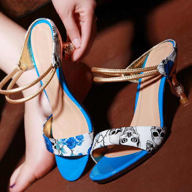 Leather Sandals Nice Summer Nice Style Of Printing Colors Pluswomen Slippers Women Shoes High Heel Sandals
