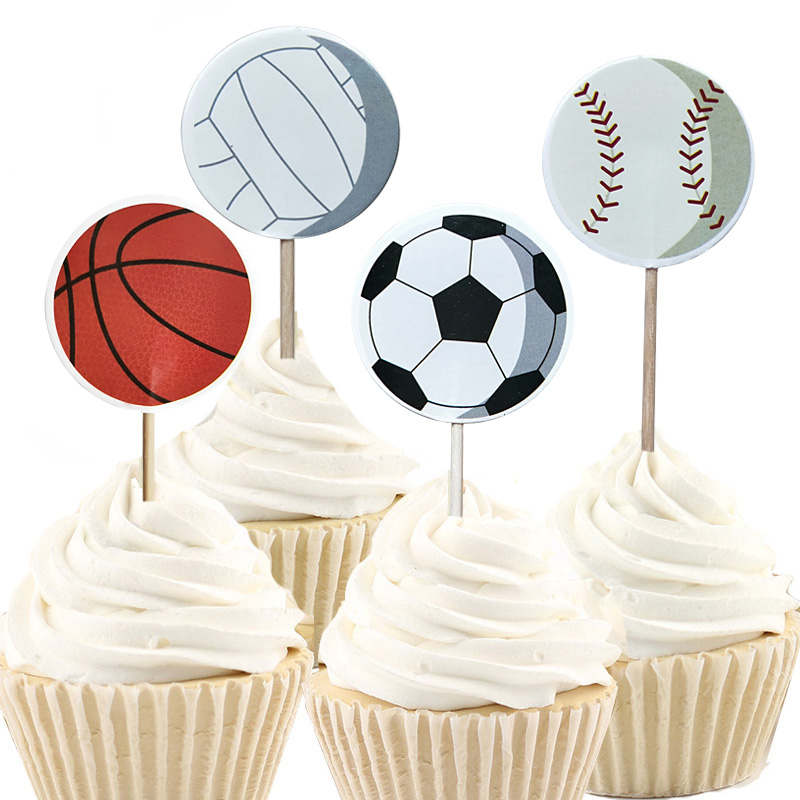 Useful 24/48pcs Cool Basketball Baseball Football Sports Cupcake Cup Topper For Birthday Wedding Easter New Year Party Cake Decoration To Have A Long Historical Standing Wedding & Anniversary Bands