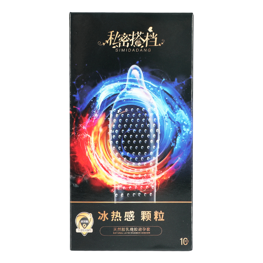 Adult Sex Products 52mm Hyaluronic Acid Ultra Thin Condom Ice Fire Dotted Natural Latex Rubber Condoms For Men Cock Penis Sleeve(China)