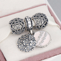 Fits Pandora Charms Bracelet and Necklace 925 Sterling Silver Charm Sets Sparkling Beads Women DIY design Drop Shipping