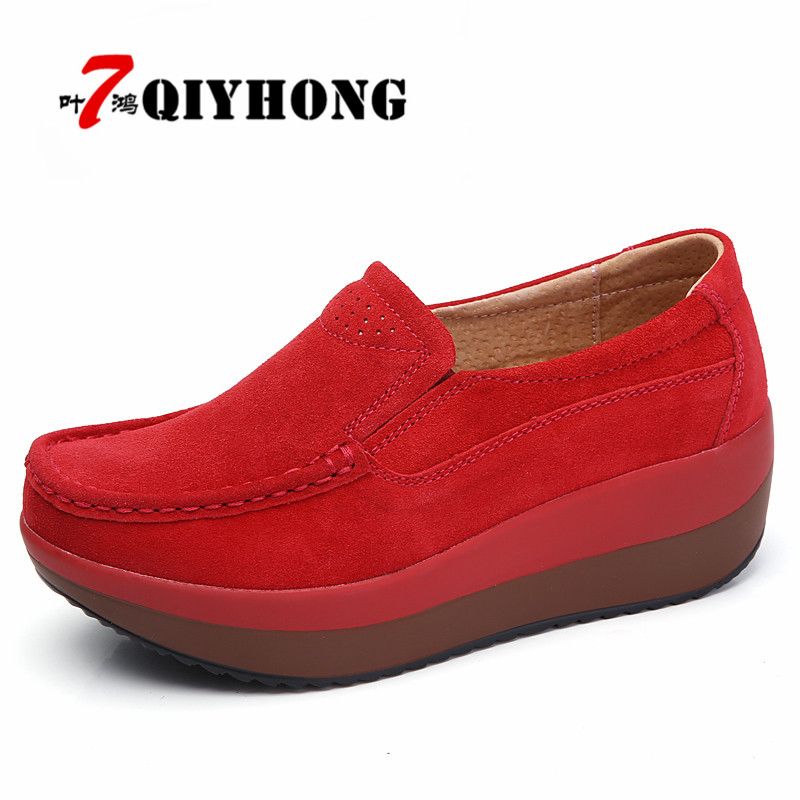 2018 New Spring Autumn Shoes Woman Cow   Suede     Leather   Flat Platform Women Shoes Slip On Women's Loafers Moccasins Female Shoes