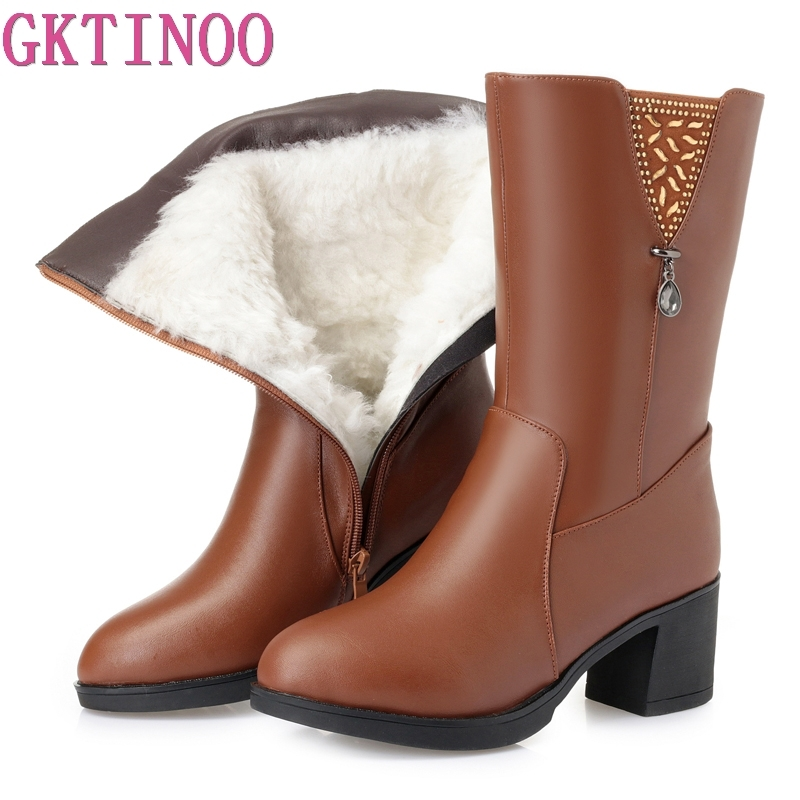 GKTINOO Winter Boots Wool Fur Inside Warm Shoes Women High Heels Genuine Leather Shoes Platform Snow