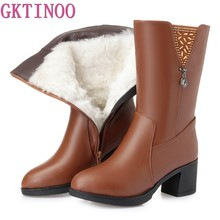 fabe16743 Botas de Inverno Lã De Pêlo GKTINOO Dentro dos Sapatos Quentes Mulheres  Sapatos De Salto Alto