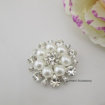 (BT110 33mm)100 X Hot Sale White Pearl Rhinestone Button Shank For Craft