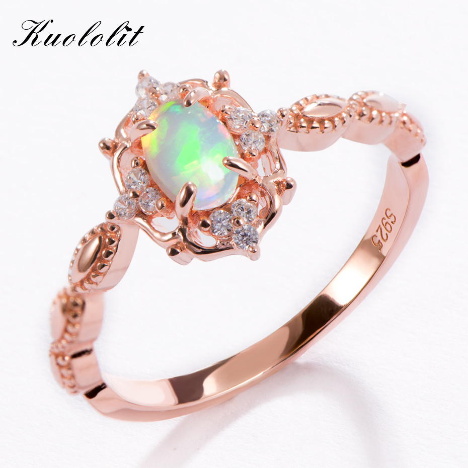 Kuololit Natural Opal Gemstone Rings for Women 925 Sterling Silver Rose Gold Ring Wedding Size 10 Engagement Gifts Fine JewelryKuololit Natural Opal Gemstone Rings for Women 925 Sterling Silver Rose Gold Ring Wedding Size 10 Engagement Gifts Fine Jewelry