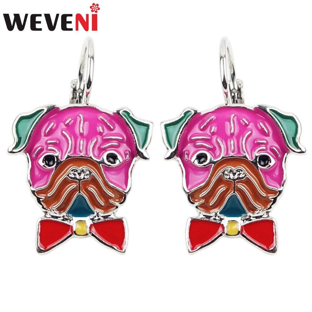 WEVENI Enamel Alloy French Bulldog Pug Dog Stud Drop French Clip Earrings Fashion Animal Jewelry For Girls Women Ladies Bulk New