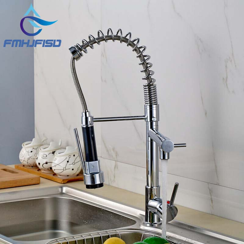 Best Quality Chrome Finish Solid Brass Water Power Kitchen Faucet Swivel Spout Vessel Sink Mixer Tap golden brass kitchen faucet dual handles vessel sink mixer tap swivel spout w pure water tap