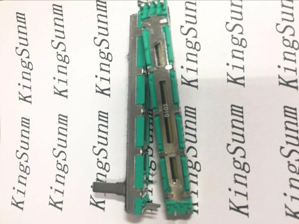 50pcs 7 5CM 75mm D10K dual channel mixer fader potentiometer D103 6Pins 10K D103 D10KX2