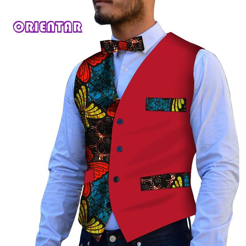 Imprimé africain robe gilets pour hommes Slim Fit costume Gilet homme Gilet hommes décontracté sans manches formelle d'affaires veste WYN118