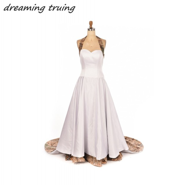 Chic Victorian Gothic Camouflage Style Halter Wedding Dresses With ...