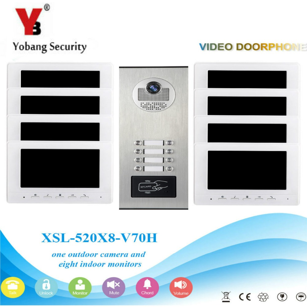 YobangSecurity 7 Inch Color Wired Video Door Phone Doorbell Entry Intercom Monitor System With RFID Access Doorbell Camera yobangsecurity black 7 inch color tft lcd screen monitor wired video doorbell camera system for house office apartment