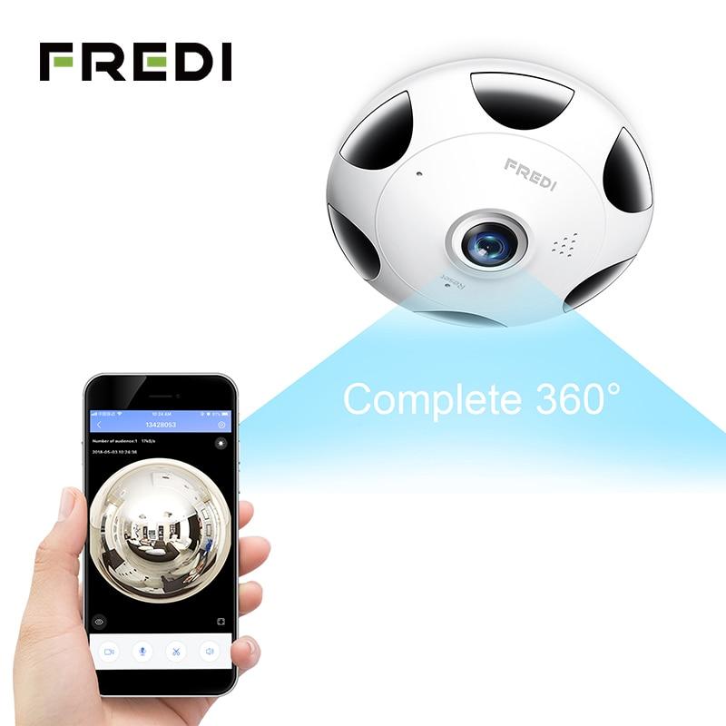 FREDI 3.0MP IP Camera 1536P HD Wireless WiFi Surveillance Camera 360 Degree Panoramic Fisheye Infrared Night Vision CCTV Camera