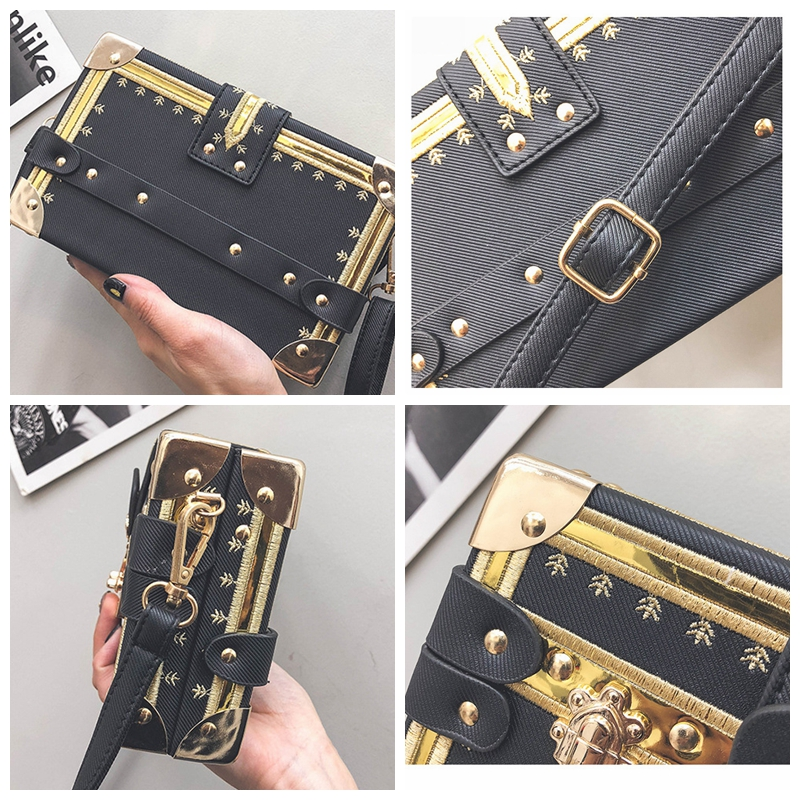 Mini Square Women Bag Rivets Fashion Box Messenger Bags Small Girls Shoulder Bags ladies hand bags Brand Designer Crossbody in Shoulder Bags from Luggage Bags