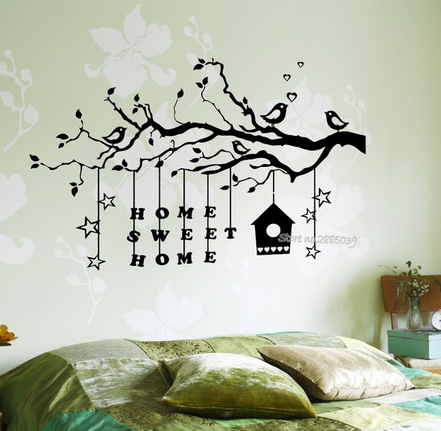 Wall Stickers Bedroom Romantic Tree Branch Home Sweet Quotes Vinyl Removable Sticker Decal Living Room Art Decor LA491