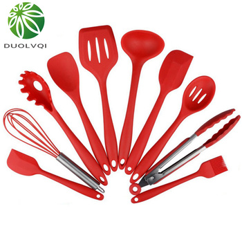 Duolvqi 10pcs Non-Stick Kitchenware Silicone Heat Resistant Kitchen Cooking Utensils Baking Tool Cooking Tool Sets