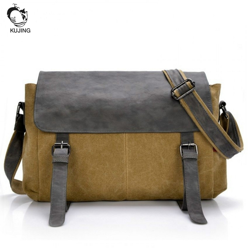 KUJING Brand 2017 Fashion Handbags High Quality Men And Women Canvas Shoulder Bag Cheap Luxury Business Casual Men Messenger Bag