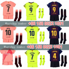 7545644328 2019 18 Barcelona football jersey third 2018 Barcelonaes kids kit shirt  COUTINHO A. INIESTA SUAREZ MESSI third kids shirt