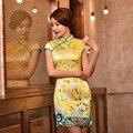 New Ladies Short Sleeve Sexy Yellow Cheongsam Qipao Dresses Qi Pao Cheongsam Vestidos Party Dress Chinese Traditional Dress