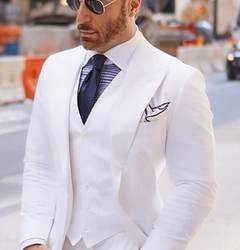 Широкий максимумом нагрудные Для мужчин костюмы для Свадебные смокинги 2018 Белый Жених best человек Блейзер, куртка комплект из 3 предметов