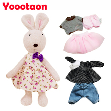 Kawaii Original Le sucre bunny rabbit plush dolls,1 rabbit + 3 sets of clothes, Stuffed kids girls toys gifts with cute Clothes