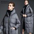 2017 Estilo Europeo Mujeres Down Jacket Winter Down Abrigos Outwear-30 Grados Cálidos guantes de Prendas de vestir de Moda Más El Tamaño de Envío Rápido