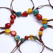 Belleper New Coffee Rope Bracelet For Women Ceramic Pendant Adjustable Ethnic Jewelry Love Stone Female Hand-woven Gift
