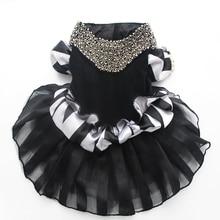 Black&White Pet Dog Velet Wedding Tutu Dress Pearls&Stripied Design Cat Puppy Princess Skirt Clothes