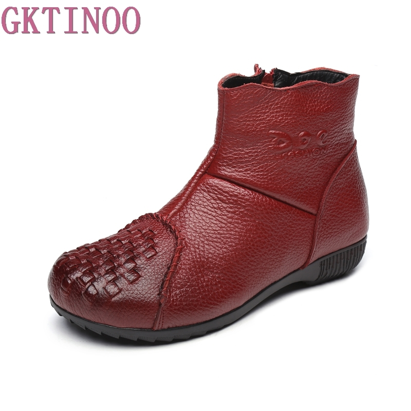 Winter Shoe Martin Boots Genuine Leather Ankle Shoes Vintage Casual Shoes Warm Fur Retro Handmade Women Boots Lady women led light shoes casual shoes led luminous boots unisex genuine leather ankle boots women usb charging martin boots 35 46