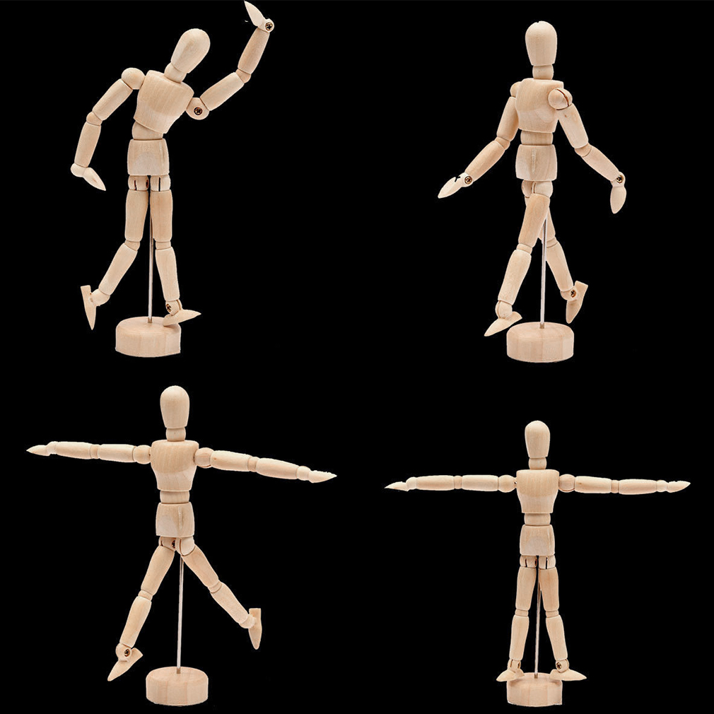 Hot! 4.5''/5.5'' Drawing Model Wooden Human Male Manikin Jointed Mannequin Puppet New Sale