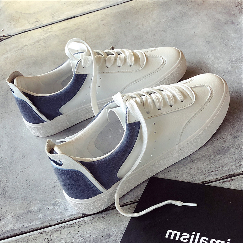 2018 New soft PU women shoes lace up casual tenis feminino fashion sneakers chaussures femme ladies white shoes basket femme