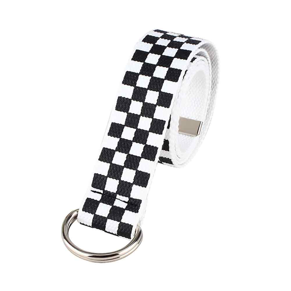 Mode Casual Mannen Vrouwen Dambord Canvas D Ring Riem Plaid Taille Riem Tailleband
