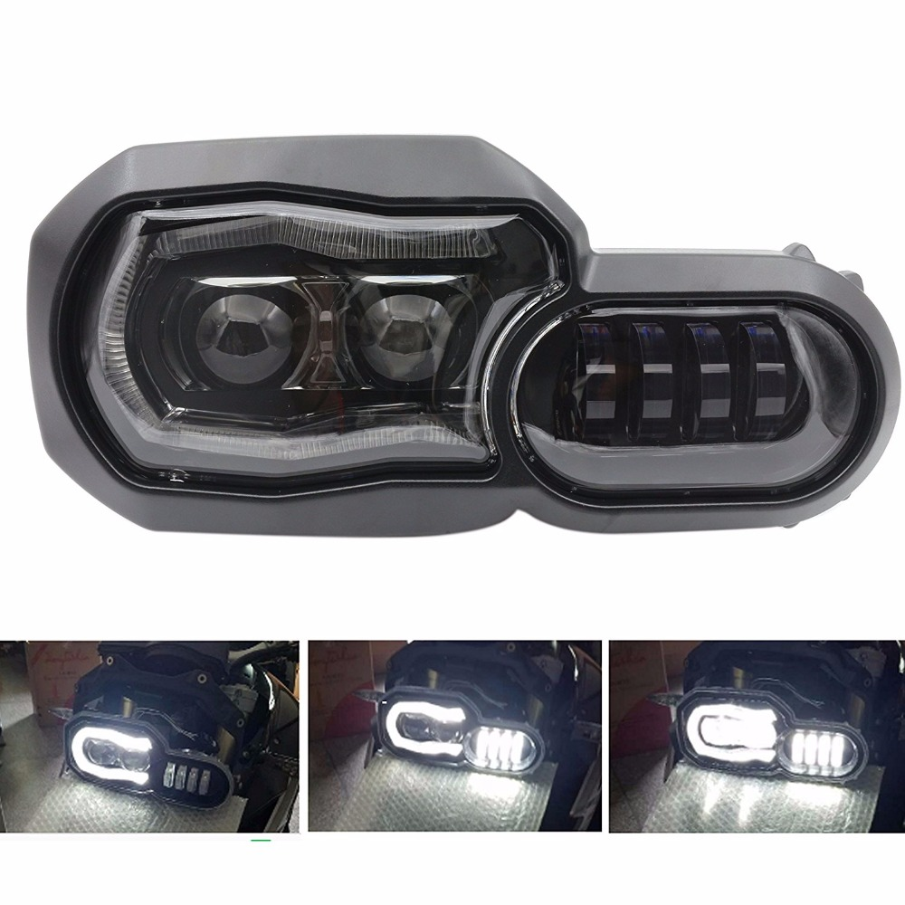 Motorcycle Clear Black LED Headlight Headlamp Angel Eyes Assembly Kit for BMW F800GS F700GS 13-16