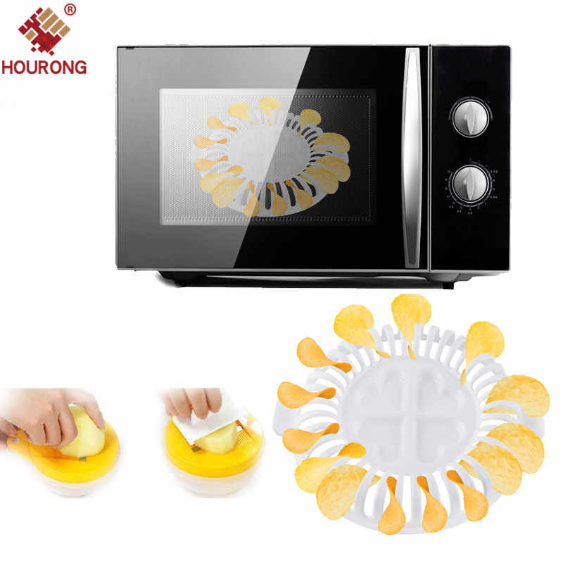 HOURONG 3Pcs/Set DIY Low Calories Microwave Oven Fat Potato Chips Tray Potato Rack Holder Maker Potato Ships Knife Cooking Tool