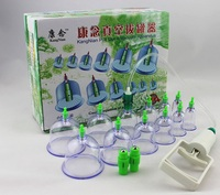 12 PcsTwo Heads Vacuum Magnetic Therapy Tanks Medical Chinese Vacuum 12 Body Cupping Cups Healthy Kit