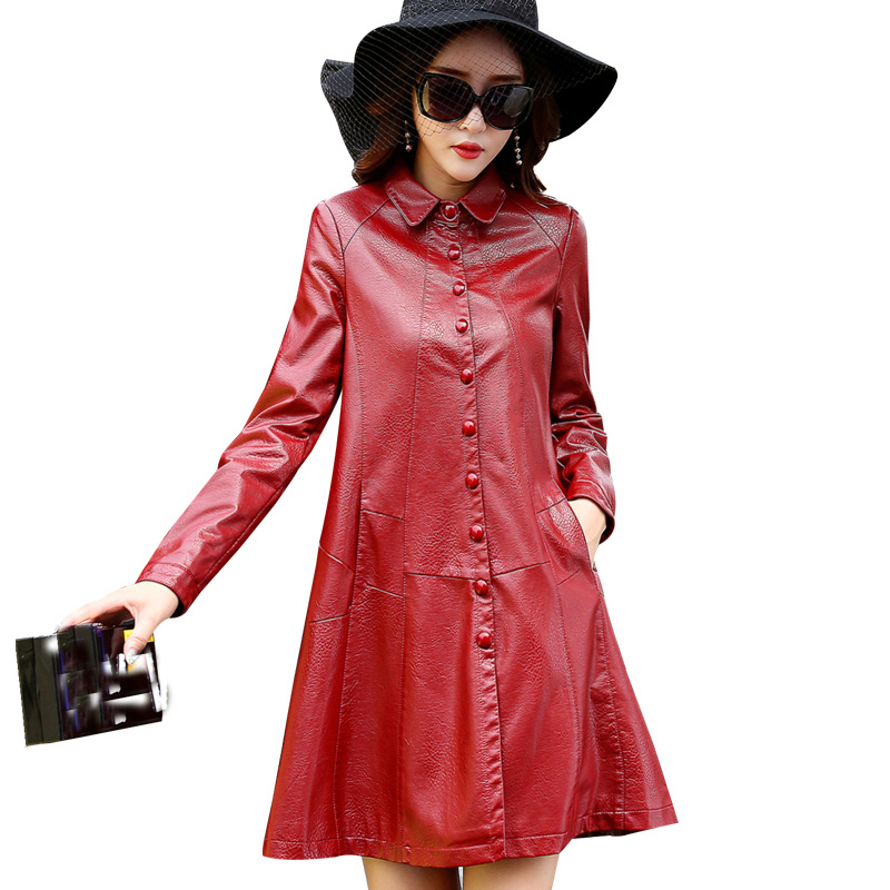 Autumn   Leather   clothes Young woman coat large size ladies   leather   jacket South Korean Style high-grade   leather   Cloak dressQH1061