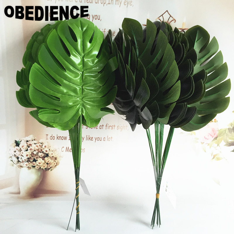 Obedience 10pcs artificial plants banana leaf plastic for Artificial banana leaves decoration