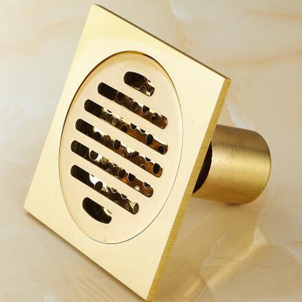 Cuarto de baño de cobre Doble desodorante desagüe en el suelo lavadora drenaje en el piso de ducha de Oro Tee Cuadrado desagüe en el suelo
