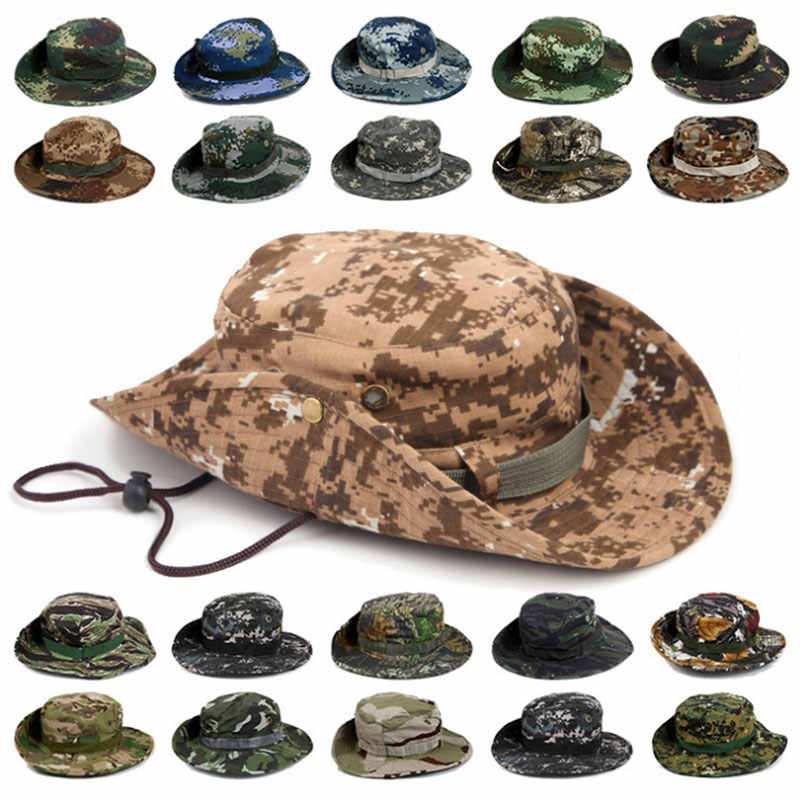 8370ec6ffc7 Men Women Sports Boonie Washed Cotton Twill Chin Cord Military Camouflage Hunting  Hat Travel Sun Cap