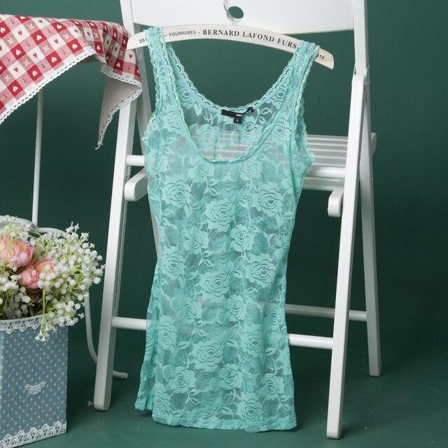 Fashion big tallyweijl neon ! flower lace slim tank small vest basic 45