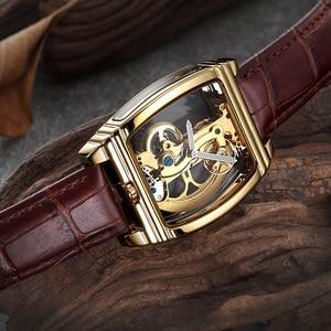 Image 5 - Przezroczysty automatyczny zegarek mechaniczny mężczyźni Steampunk Skeleton Luxury Gear Self Winding skórzany zegarek męski zegarki montre homme