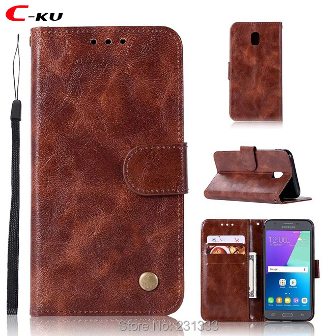 C-ku Retro Matte Strap Wallet Leather Case For Samsung Galaxy NOTE 8 S8 PLUS S6 EDGE S7 S5 TPU ID Card Stand Mad Skin Cover 1pcs