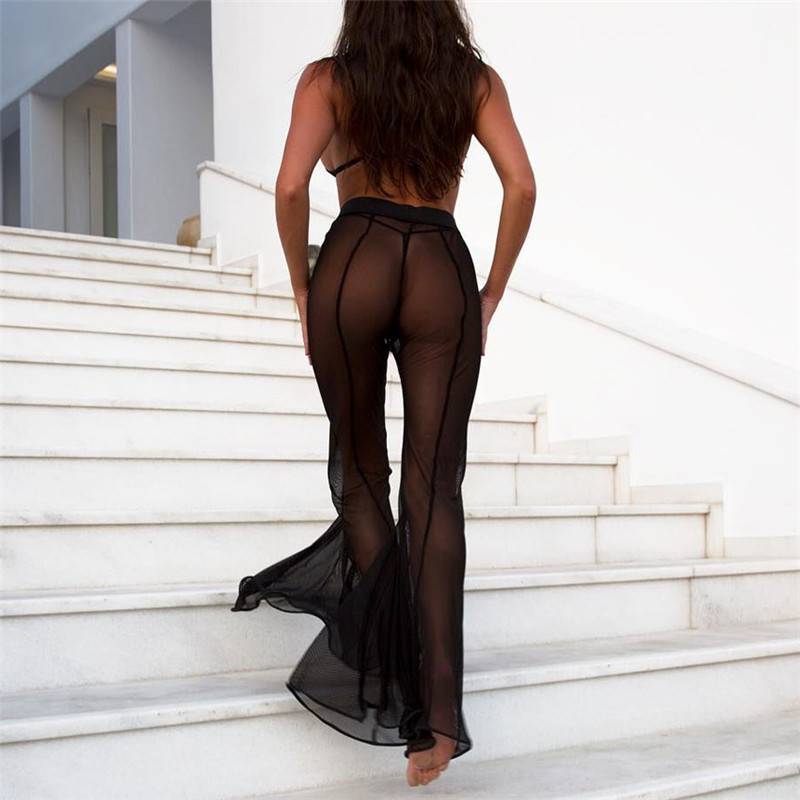 Hot Sexy Women Sheer Mesh   Wide     Leg     Pants   See Through Transparent Trim   Pants   High Waist Full Night Club Wear Trousers