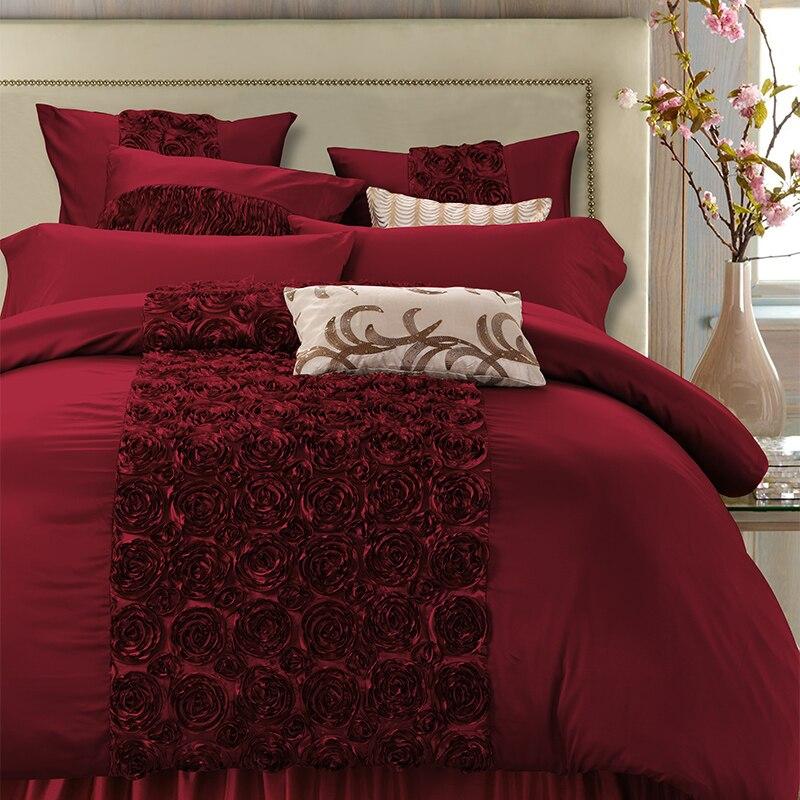 4 6Pcs Luxury Red Wedding Royal Bedding set Queen King size Bed set Bed Sheet Satin